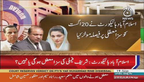 Islamabad High Court: Hearing over suspension of sharif family's sentences