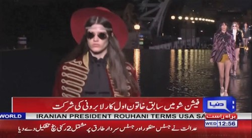 Models walk on water in Paris Fashion Week