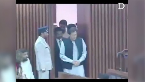 PM Imran Khan seen running into assembly earlier today.