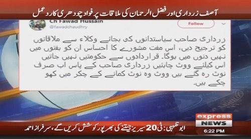 Meet lawyers instead of politicians, Fawad advises Zardari