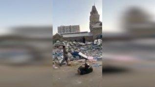 This isn't a war zone, this is the area around Karachi's Empress Market