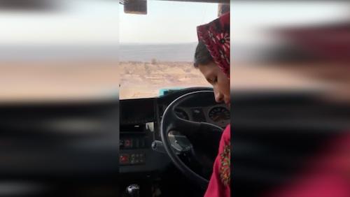 Sita in a gaint mining truck