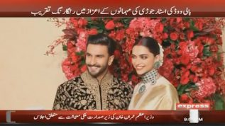 Bollywood's star couple throws a colourfull wedding party in honour of their guests.