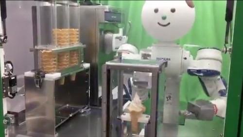 A robot that serves ice cream