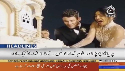 Priyanka and Nick cut 18 feet long cake