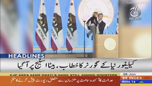 California Governor's 2 year year old son interrupts his speech