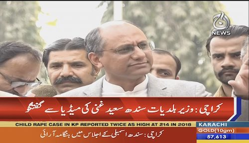 Local Government Representative in Sindh Saeed Ghani talks to the media