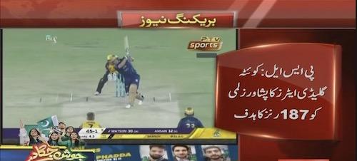 Quetta gave a target of 187 runs