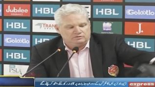 Islamabad United's coach broke down during a press conference
