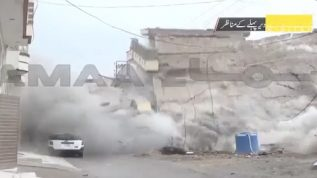 50 kg bomb explosion destroys the house after operation