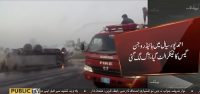 Tanker catches fire in Ahmedpur on way from Lahore to Quetta
