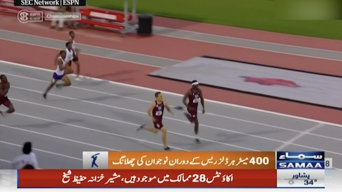 Interesting end to 400 meter hurdles race