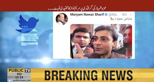 Maryam Nawaz tweets after Hamza Shehbaz's arrest