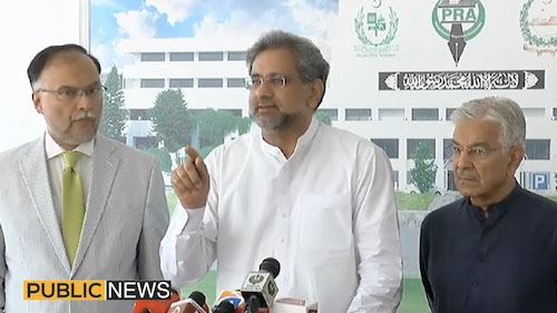 Shahid Khaqan Abbasi talks to the press as NAB arrests Hamza Shahbaz
