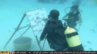 Undersea art: An artist sketches fish and corals underwater