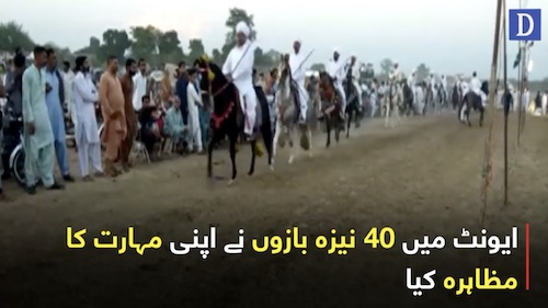 Interesting game of tent pegging