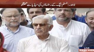 Khawaja Asif talks to media today