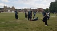 Pak parliamentarians team warms up before cricket match