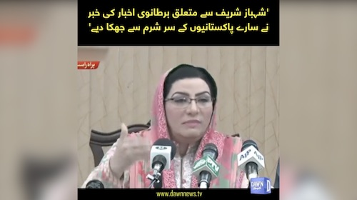 Firdous Ashiq Awan calls out Shehbaz Sharif
