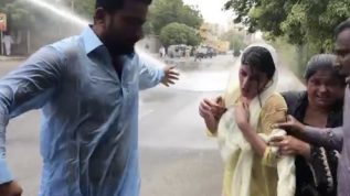 Sindh govt answered protesting nursing staff with water cannan