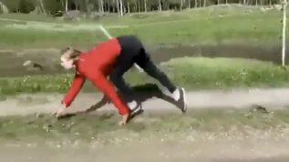 An unusual woman running in an unusual way