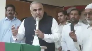 Speaker Asad Qaiser addresses farmers
