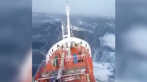 The North Sea welcoming a ship in its rough routine