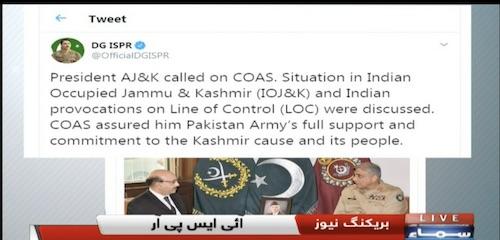 President Azad Jammu and Kashmir (AJK) Sardar Masood Khan called on Army Chief General Qamar Javed Bajwa.