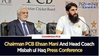 Chairman PCB Ehsan Mani aor Head Coach Misbah ul Haq ki press conference