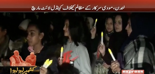 London mein Modi kay muzalim kay khilaf candle light march.