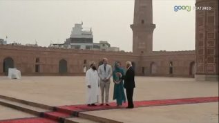 Royal Couple Prince William and Kate Middleton arrive at Badshahi Mosque, Lahore
