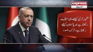 Kashmir Turkey kayliey wohi haisiyat rakhta hay jo Pakistan kayliey rakhta hay: Erdoğan